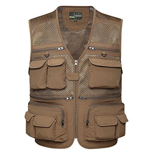 DREAM.ELK Quick Dry Fishing Vest Jacket Men Women's Waistcoat Multi Pockets Mesh Vest for Fly Fishing Outdoor Sport Photography Walking Hiking Camping Hunting Trekking Travel,Khaki,Asia:4XL/US:XL