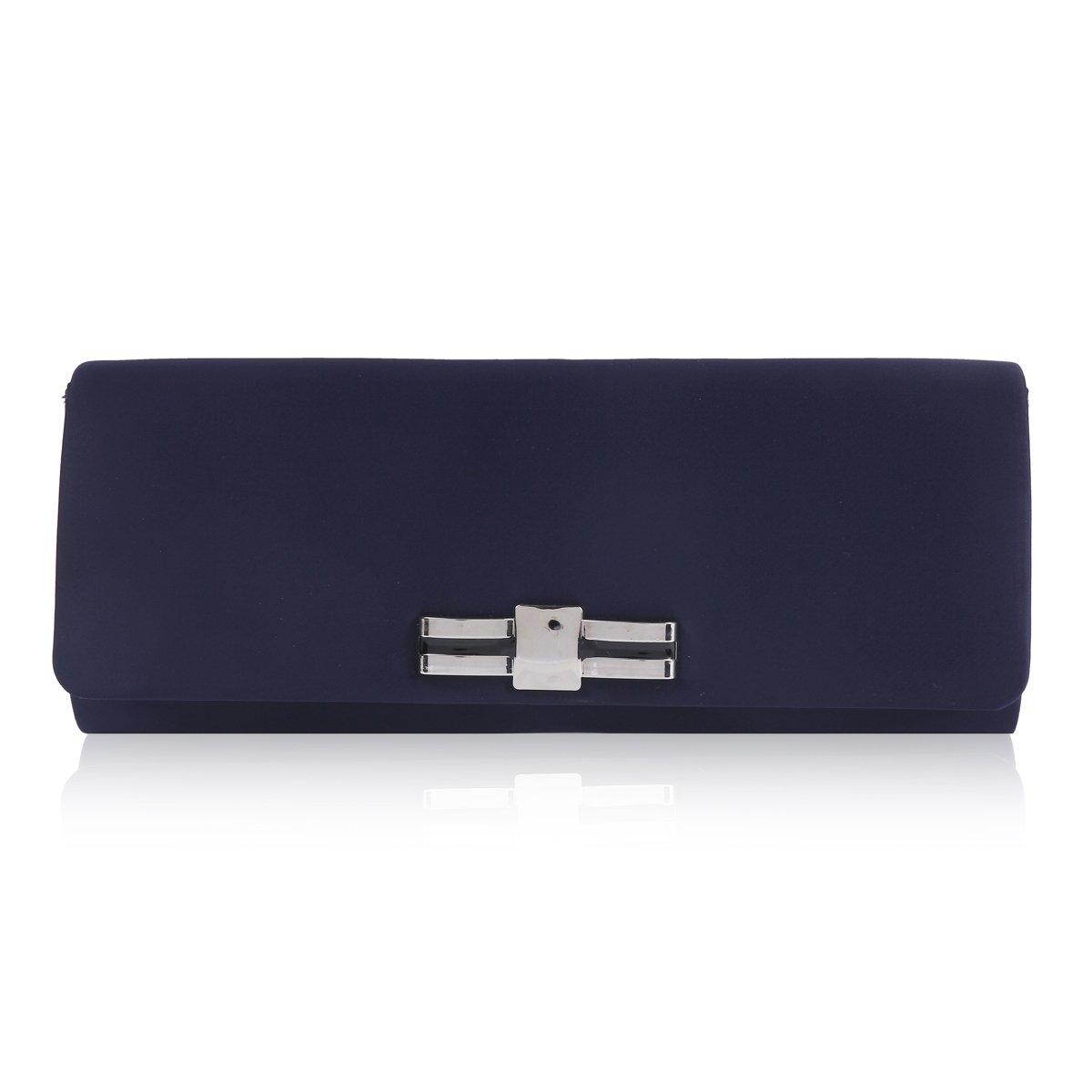Damara Womens Elegant Simple Smooth Clutch Evening Party Bag,Navy Blue