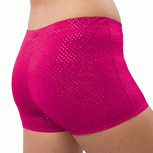 Sequin Cheer Briefs - Pizzazz Girls Fuchsia Sequin Boy Cut Brief Cheer Dance Shorts 10-12