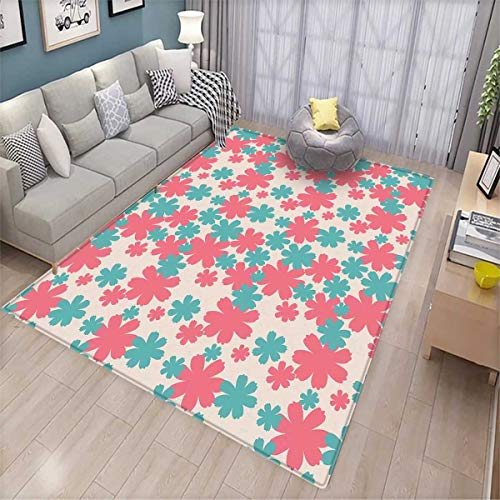 Garden Bath Mat 3D Digital Printing Mat Big Bold Growing Flowers Burst Lush Grand Forest Plants Pastel Colored Artwork Door Mat Increase Teal Pink White - Grand Sofa Knife