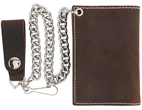 Men's Tri-fold Vintage Cowhide Top Grain Leather Steel Chain Wallet,Snap closure, Made In USA,Crazy horse brown,DC328