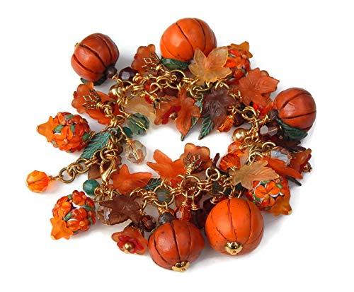 Pumpkin Charm Bracelet, Fall Jewelry]()