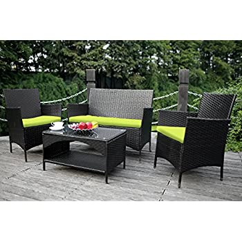 Merax 4 piece Outdoor PE Rattan Wicker Sofa and Chairs Set Rattan Patio  Garden Furniture. Amazon com   Merax 4 piece Outdoor PE Rattan Wicker Sofa and