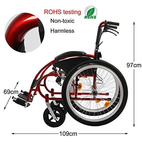 Wheelchair with Lightweight Steel Frame, Antimicrobial Protection, Folding Transport Chair is Portable, Large 24 inch Back Wheels, 46Cm Wide Seat (Best Electric Wheelchair Uk)