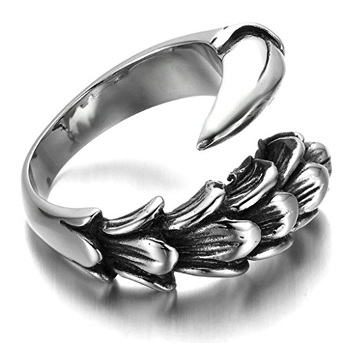 [Stainless Steel Ring for Men, Claw Ring Gothic Silver Band 15MM Size 13 Epinki] (Boxing Costume Walmart)