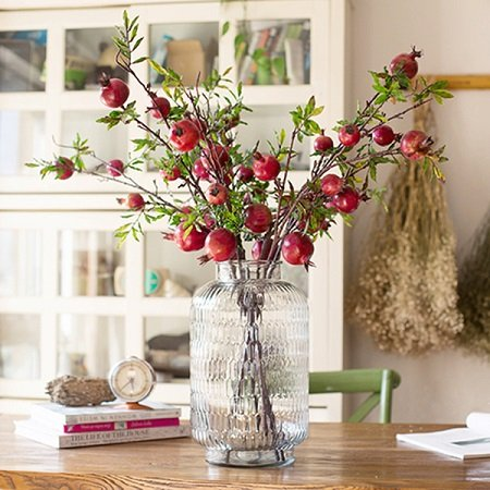 """G Home Collection Rustic Artificial Large Pomegranate Fruit Stem 36"""" Tall"""