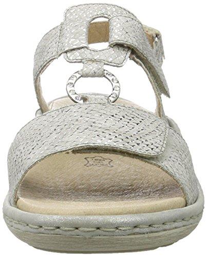 Remonte D7648, Sandalias con Cuña para Mujer Plateado (Silber/90)