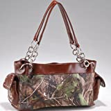 Realtree ® Women's Camouflage Studded Leather Like Shoulder Bag Handbag w/ Chain Handles -Camouflage/Brown, Bags Central