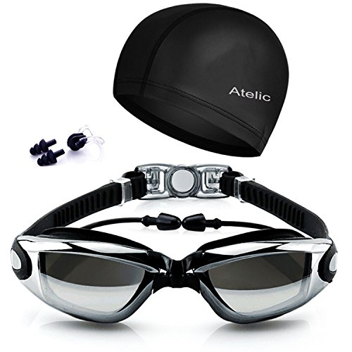 #1 TOP RATED SWIM GOGGLES Atelic® Swimming Goggles Cap Equipment Anti Fog UV Protection Triathlon Swim Goggles with Free Protection Case for Adult Men Women Youth Kids Child