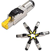 Cable Matters 6-Pack Tool-Free Shielded RJ45 Cat 6A / Cat6A Termination Plug (Cat6A Plug / Cat6A Connector)