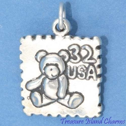 TEDDY BEAR POSTAGE STAMP USPS MAIL POSTAL .925 Sterling Silver Charm Pendant Jewelry Making Supply Pendant Bracelet DIY Crafting by Wholesale Charms
