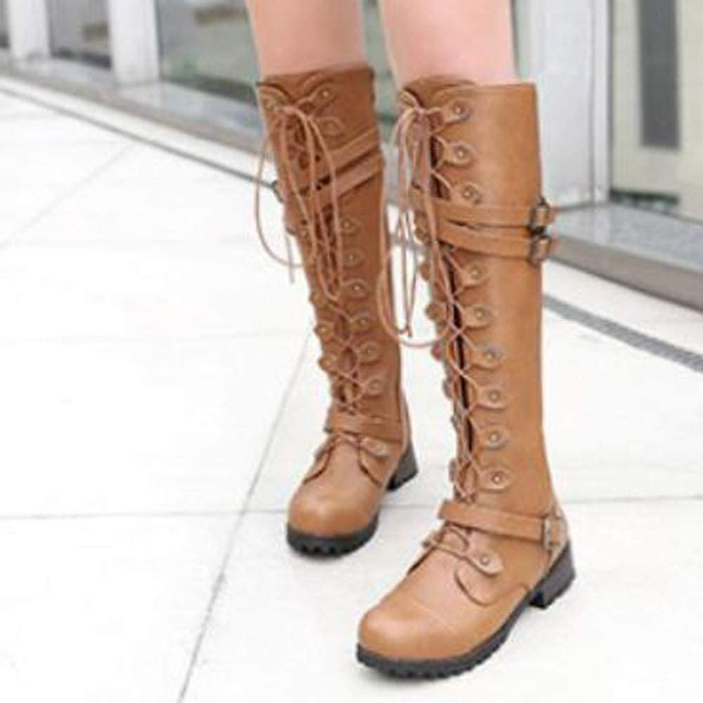 Botas de mujer, botas militares de combate con hebilla con cremallera, botines con bolsillo para tarjetas de crédito y cordones, zapatos negros, botas