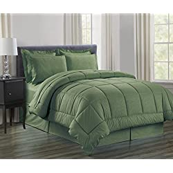 Sweet Home Collection 8 Piece Bed In A Bag with Dobby Stripe Vine Comforter, Sheet Set, Bed Skirt and Sham Set, Sage, Queen