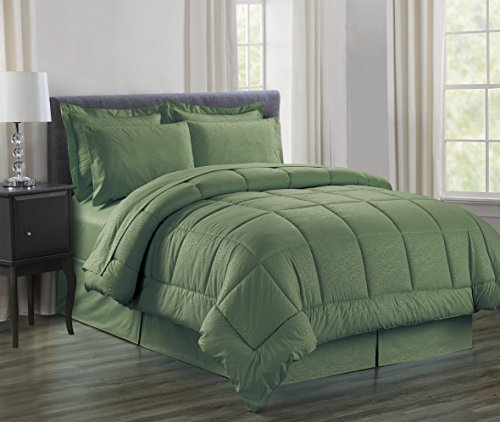 Sweet Home Collection 8 Piece Bed In A Bag with Dobby Stripe Vine Comforter, Sheet Set, Bed Skirt and Sham Set, Sage, (Green Queen Comforter Set)