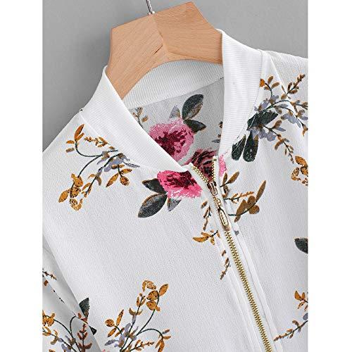 Impression Veste Blanc Fermeture Rtro Manteau Outwear Bluestercool Casual Femmes Bomber Floral clair Jacket CqwqgFt