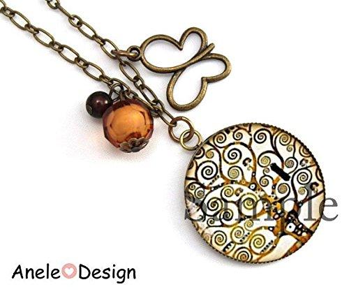 Boucles doreille Klimt Arbre de vie oiseau