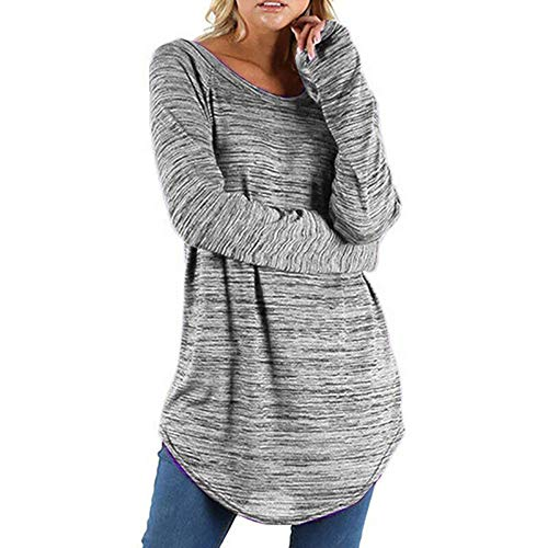 Boomboom Simple Style Women Plus Size Solid Color Long Sleeve Blouse Shirt Gray 2XL (Plus Size Dresses Size 32 And Up)