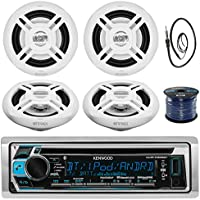 Kenwood KMR-D368BT In-Dash Marine Boat Audio Bluetooth CD Player Receiver Bundle Combo With 4x Enrock EKMR1672B 6.5 Dual-Cone Stereo Speakers + Radio Antenna + 16g 50FT Marine Speaker Wire