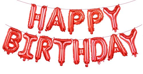 Grainee Happy Birthday Balloons, Mylar Aluminum Foil Banner Balloons for Birthday Party Decorations and Supplies (Red)