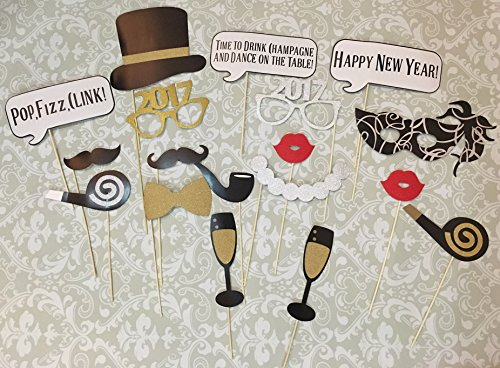 [New Year Photo Booth Props, 2017 New Year Party Decoration, Mask, 18 PCS Attached to the stick NO DIY] (New Year Costumes)