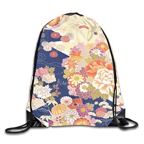 (Drawstring Backpacks Bags Daypacks,Traditional Kimono Motifs Composition Asian Ethnic Floral Patterns Vintage Artwork,5 Liter Capacity Adjustable For Sport Gym Traveling)
