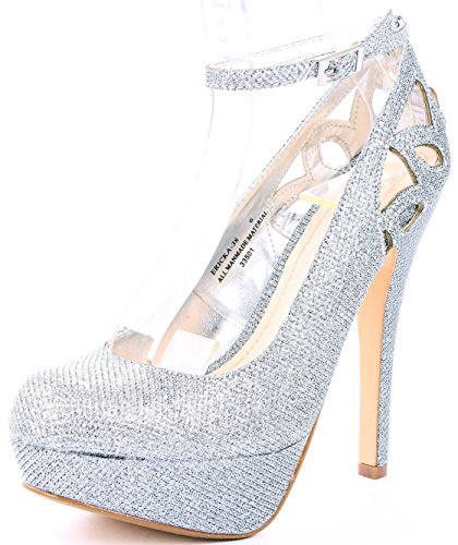 Womens Ericka Cut Out Ankle Strap High Stiletto Heel Platform Dress Pumps Silver l0n8utXhoR