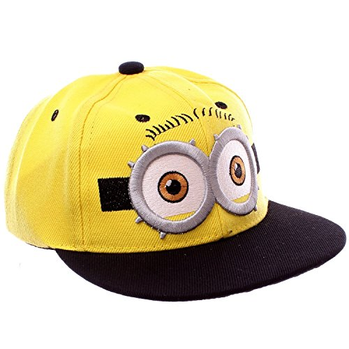 LiveOut Minion Kids Hip-Hop Baseball Cap With Adjustable Snapback - 50 Minion Stickers (Two -
