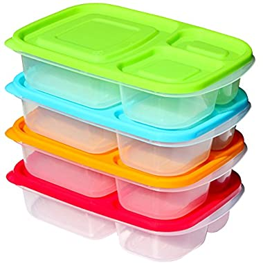 Sunsella Buddy Boxes - 3 Compartment Containers (4 Pack) Reusable Bento Lunch box & Divided Food Storage With Multi Colored Lids (Not Leakproof)