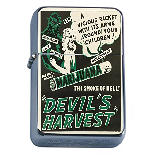 - Vintage Poster The Devil's Harvest Flip Top Oil Lighter S302 Smoking Cigarette Smoker Includes Silver Case