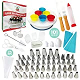 Cake Decorating Supplies 101 PCS Set| Cake Decorating Kit| Rotating NonSlip Turntable| 6 Silicone Cupcake Molds| 2 Icing Spatula| 27 Pastry Bags| Cake Pen|Smoother| 3 Combs|48 Small& 5 Big Piping Tips