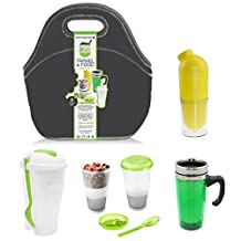 Brunch2Go - 5 pcs Travel and Work Food set with a Multi-Compartment Salad/Lunch Container, Cereal/Muesli Container with Cooling pack, Water Bottle, Hot Drinks Mug and Insulated Bag - for Lunch, Breakfast and Afternoon Snack