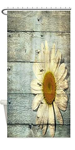 Personalized Shabby Chic Country Daisy Waterproof Fabric Polyester Bathroom Shower Curtain