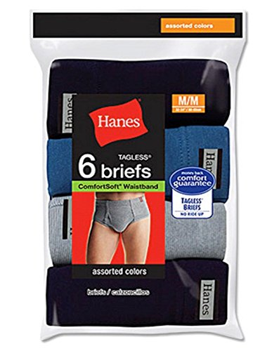 cheap Hanes Mens TAGLESS No Ride Up Briefs with ComfortSoft Waistband 6-Pack 7820N6 hot sale