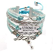 DOLON Infinity/Love Strong Is Beautiful Bracelet Hand Stamped Fitness Charm Jewelry