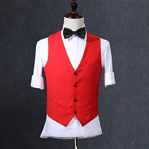 Botong Red One Button Wedding Suits for Men Groom Tuxedos 3 Pieces Men Suit