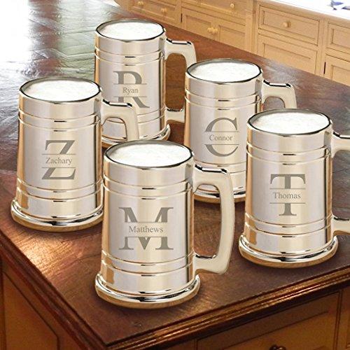 Set of 5 - Personalized Gunmetal Beer Mug - Metallic Beer Mug set of 5 - Stamped Monogram (Metallic Beer Mug compare prices)