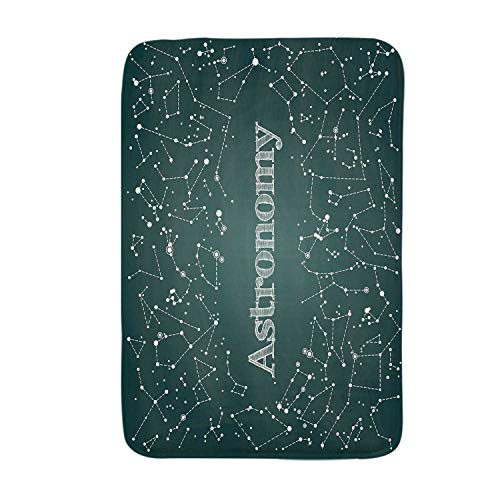 YOLIYANA Constellation Soft Door Mat,Astronomy Class Scientific School Decor Chalkboard Detailed Star Clusters for Living Room,17.7