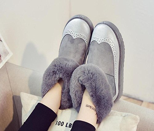 Ladies Ronda soporte de parte inferior soporte de tubo botas de nieve caliente, 120W GRAY-36