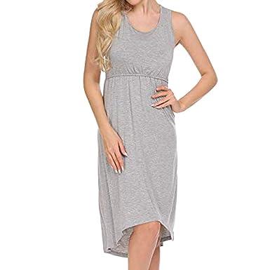Moda Color Sólido Vestidos Falda de Mujer Suelto Casuales sin ...