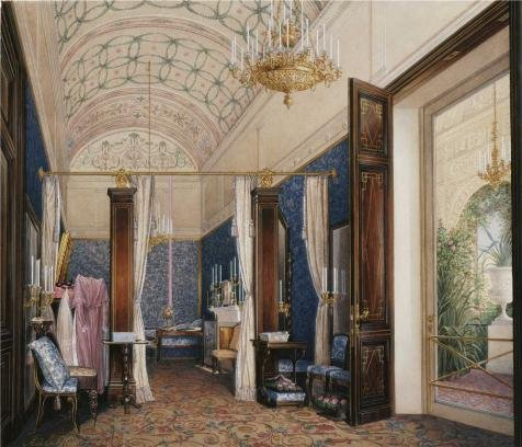 'Hau Edward Petrovich,Interiors Of The Winter Palace,The Dressing Room Of Empress Alexandra Fy,1807-1887' Oil Painting, 16x19 Inch / 41x47 Cm ,printed On High Quality Polyster Canvas ,this Best Price Art Decorative Prints On Canvas Is Perfectly Suitalbe For Powder Room Decor And Home Artwork And Gifts