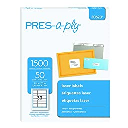 Pres-a-ply Laser Address Labels, 1 x 2.83 Inches, Clear, Box of 1500 (30620)