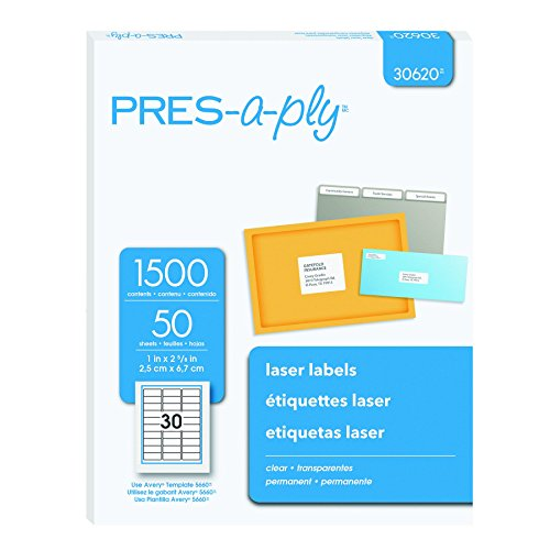 Pres-a-ply Laser Address Labels, 1 x 2.83 Inches, Clear, Box of 1500 (30620) (Label A-ply Address Pres)