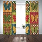 SCOCICI Grommet Polyester Window Curtains Drapes [ Cabin Decor,Dotted Checkered Patchwork Image Lovely Butterflies Sewing Themed Retro Decorative,Multicolor] Living Room Bedroom Kitchen Cafe