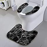UHOO2018 Toilet seat Cushion Black Marble Texture Background for Design Machine-Washable