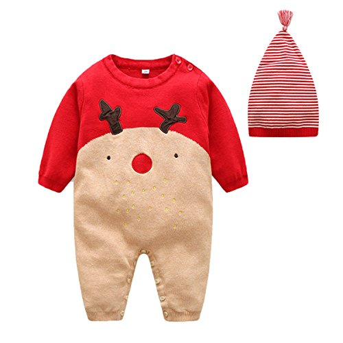 Newborn Baby Knitting Deer Pattern Long Sleeve Rompers Outfit With Hat68M