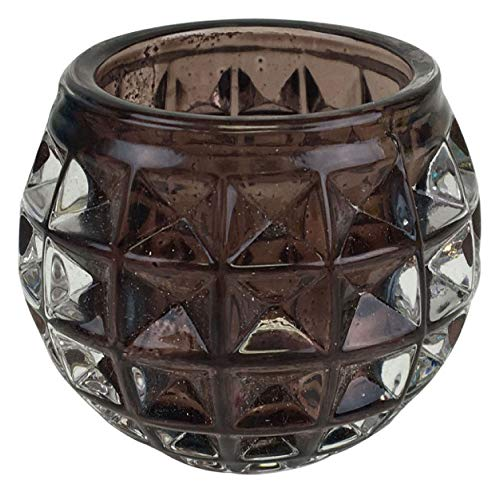 Just Artifacts Round Retro Studded Glass Candle Votive Holder 2.5