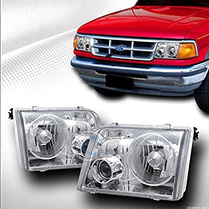 R&L Racing Chrome Clear Projector Headlights Euro Sport Style Lamp DY  1993-1997 For Ford Ranger