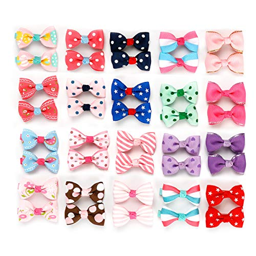 (Girls Ribbon Hair Bow Clips Printed Pattern Hairpins Non-Slip Hair Barrettes Hair Accessories for Girls Teens Kids or Dogs, 40 Pcs)