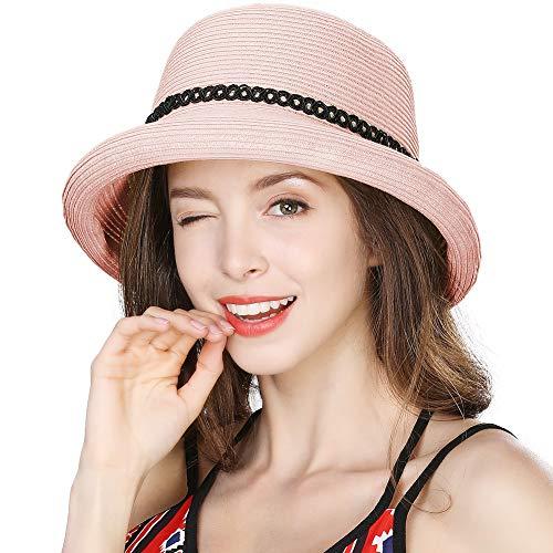 Womens Packable Straw Fedora Summer Sun Cloche Hat Beach Rolled Brim Panama Pink 56-58cm