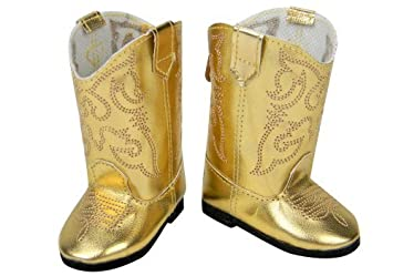 Amazon.com: Doll Cowgirl Boots in Gold, Doll Shoes Fits 18 Inch ...